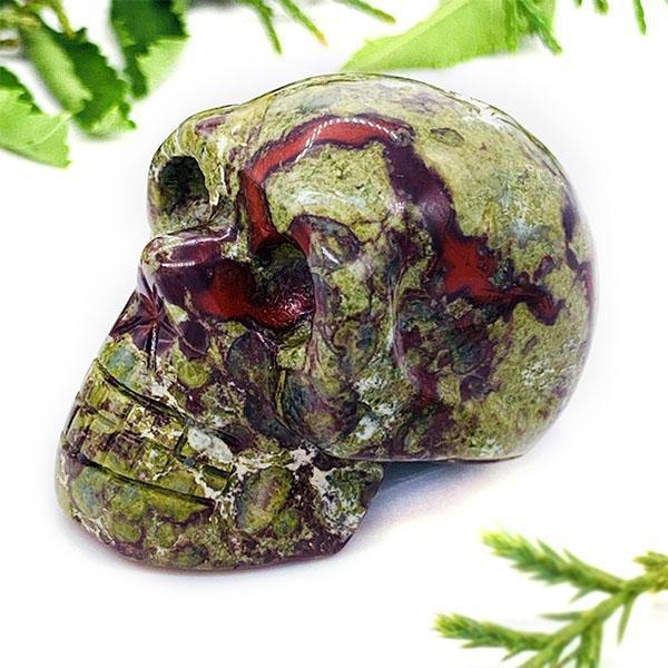 """Crystal Skull - Dragon Blood Jasper Crystal Skull (1.5"""")"""