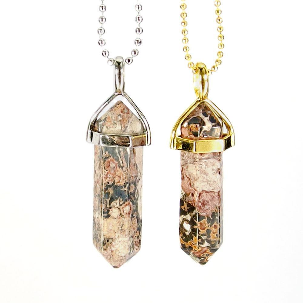 Pendant Necklaces - Leopard Skin Jasper Gemstone Pendant Necklace