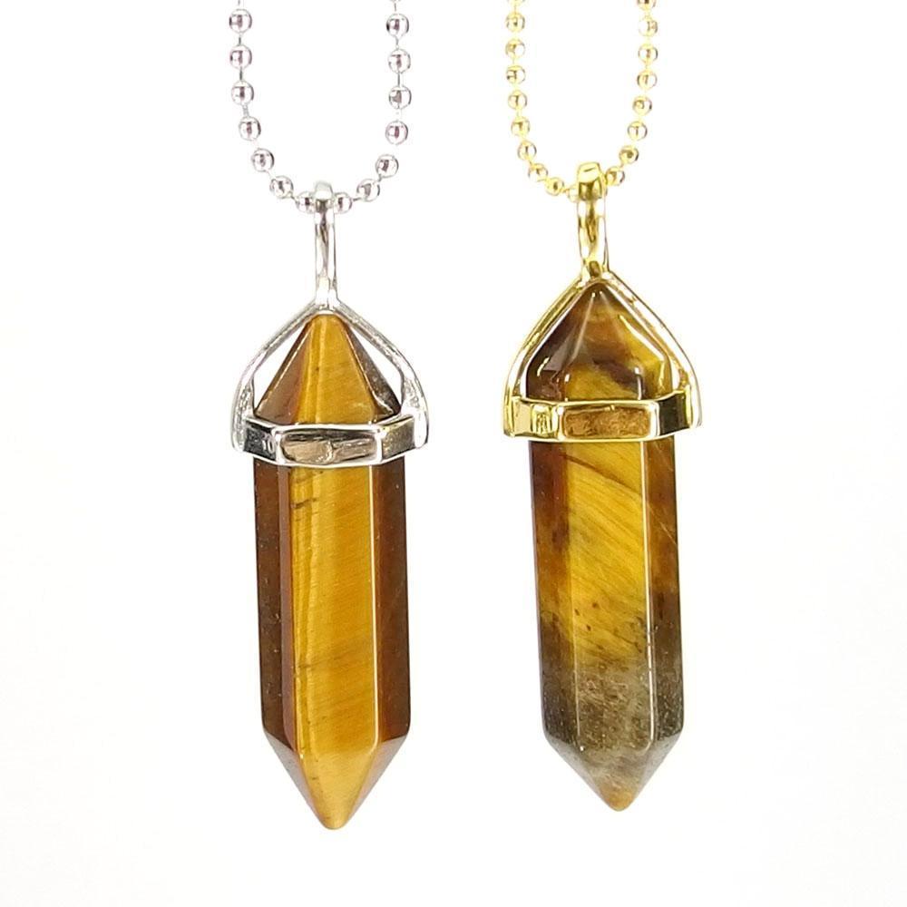 Pendant Necklaces - Tiger Eye Gemstone Pendant Necklace