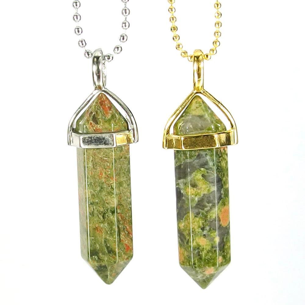 Pendant Necklaces - Unakite Jasper Gemstone Pendant Necklace