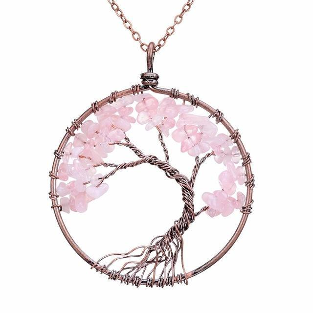 Rose Quartz Tree Of Life Gemstone Necklace