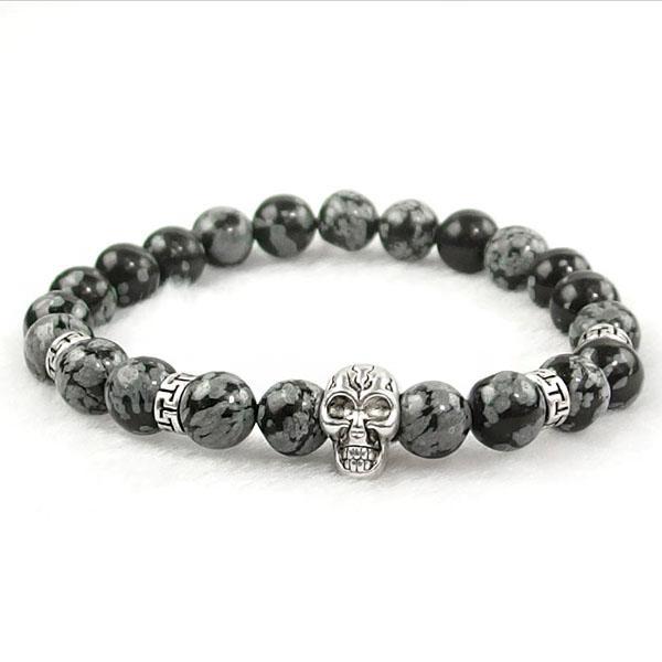 Snow Flake Obsidian Skull Bracelet