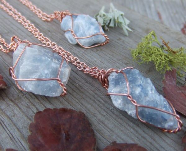blue calcite raw crystal wire wrapped necklace