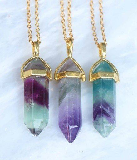 FLUORITE pendant necklace - gold chain
