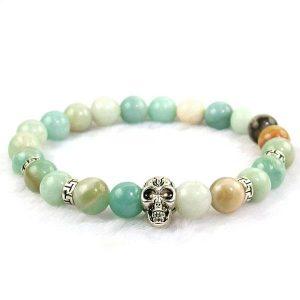 Amazonite Skull Bracelet