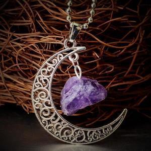 Amethyst Moon Gemstone Necklace