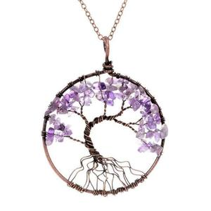 Amethyst Tree of Life Gemstone Necklace