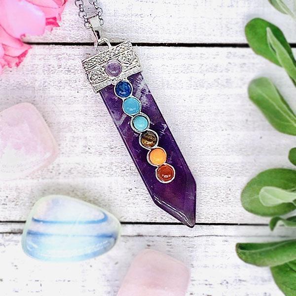 amethyst 7 chakra wand necklace