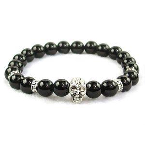 Black Obsidian Skull Bracelet