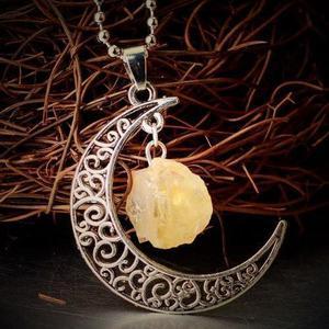 Citrine Moon Gemstone Necklace