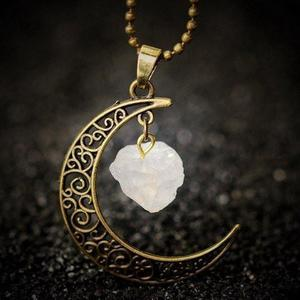 Clear Quartz Moon Gemstone Necklace