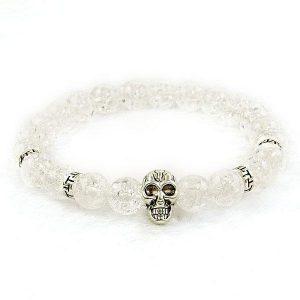 Clear Quartz Skull Bracelet