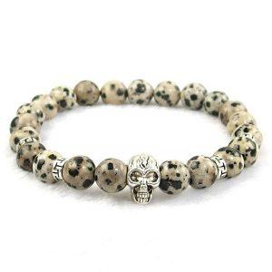Dalmatian Jasper Skull Bracelet