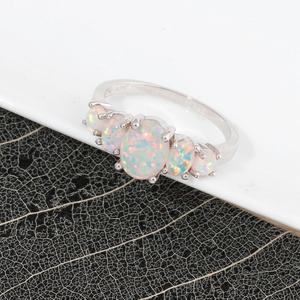 10K White Gold Filled Opal Ring