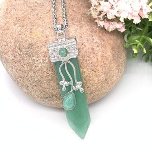 Green Aventurine Flora Embroidered Crystal Wand Pendant Necklace