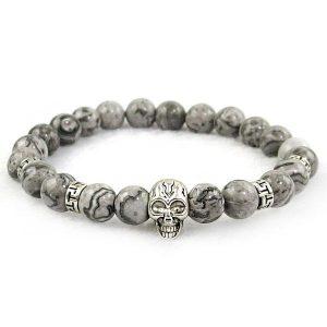 Grey Jasper Skull Bracelet