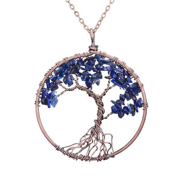Lapis Lazuli Tree of Life Gemstone Necklace