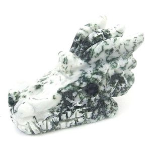 Moss Agate Dragon Carving