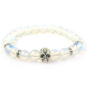 White Opalite Skull Bracelet