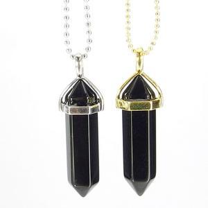 Black Agate Gemstone Pendant Necklace
