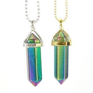 Rainbow Aura Quartz Gemstone Pendant Necklace