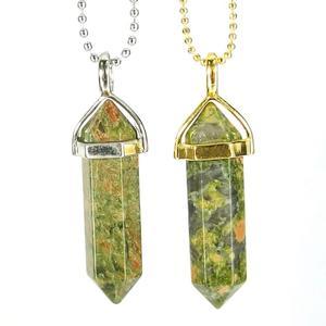 Unakite Jasper Gemstone Pendant Necklace