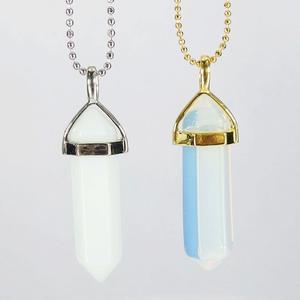 White Opalite Gemstone Pendant Necklace