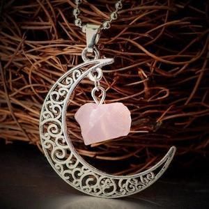 Rose Quartz Moon Gemstone Necklace