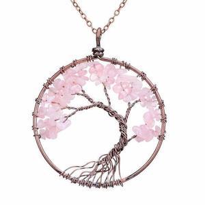Rose Quartz Tree of Life Gemstone Necklace
