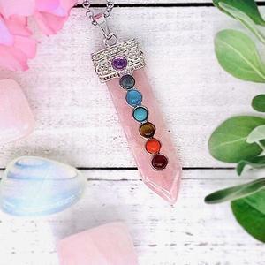 Rose Quartz Chakra Wand Necklace