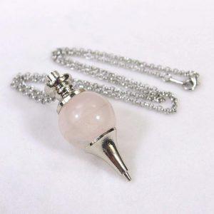 Rose Quartz Crystal Ball Pendulum Necklace