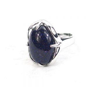 Blue Sandstone Gemstone Cabochon Ring
