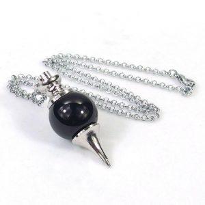 Black Agate Crystal Ball Pendulum Necklace