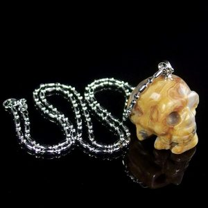 Crazy Lace Agate Skull Necklace