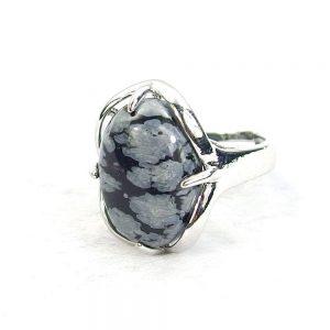 Snow Flake Obsidian Gemstone Cabochon Ring