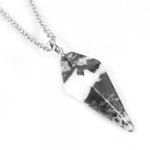 White Zebra Jasper Pendulum Necklace