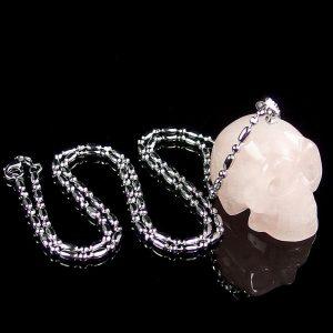 Rose Quartz Skull Necklace