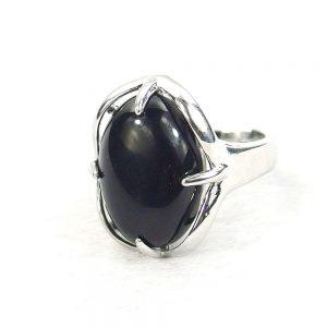 Black Obsidian Gemstone Cabochon Ring