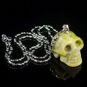 Yellow Jade Skull Necklace
