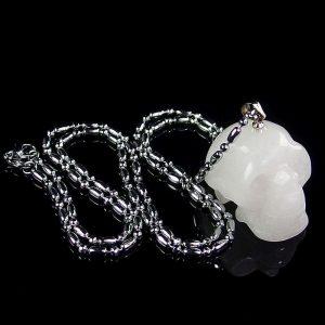 White Jade Skull Necklace
