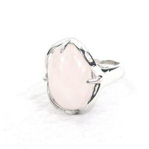 Rose Quartz Gemstone Cabochon Ring