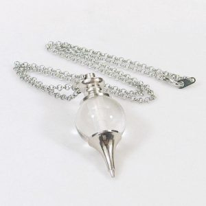 Clear Quartz Crystal Ball Pendulum Necklace