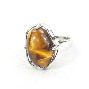 Tiger Eye Gemstone Cabochon Ring