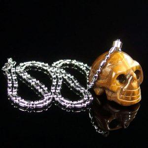 Tiger Eye Skull Necklace