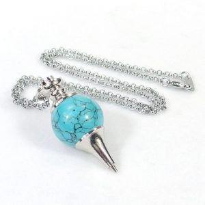 Turquoise Crystal Ball Pendulum Necklace