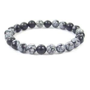 Snow Flake Obsidian Beaded Bracelet
