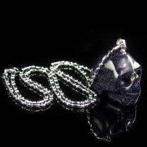 Blue Sandstone Skull Necklace