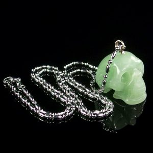 Green Aventurine Skull Necklace