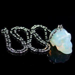 White Opalite Skull Necklace