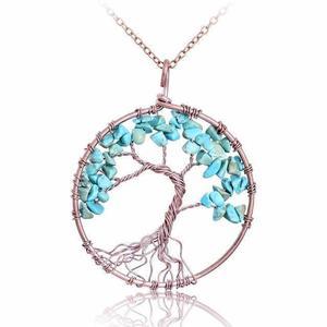 Turquoise Tree of Life Gemstone Necklace
